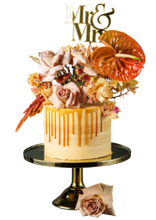 Load image into Gallery viewer, semi-naked cake, caramel buttercream, salted caramel drip, drip cake,  easy cake kits perth, boho wedding cake, rustic wedding cake