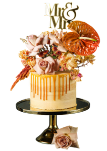 semi-naked cake, caramel buttercream, salted caramel drip, drip cake,  easy cake kits perth, boho wedding cake, rustic wedding cake
