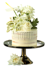 Load image into Gallery viewer, semi-naked cake, white vanilla buttercream, white drip, drip cake,  easy cake kits perth, boho wedding cake, rustic wedding cake