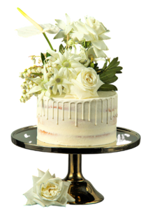 semi-naked cake, white vanilla buttercream, white drip, drip cake,  easy cake kits perth, boho wedding cake, rustic wedding cake