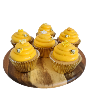 be-hive theme cupcakes, bee cake toppers, easy cake kits Perth, honey buttercream