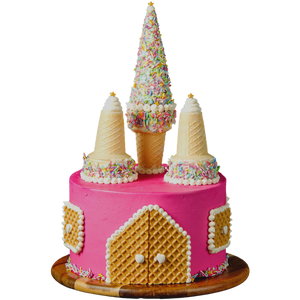 pink princess castle birthday cake, easy cake kits Perth, pastel pink Sprinkle Mix, hot pink buttercream, sponge cake, waffer decorations, white heart sprinkles, gold star sprinkles, ice-cream cone castle towers