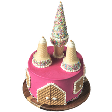 Load image into Gallery viewer, pink princess castle birthday cake, easy cake kits Perth, pastel pink Sprinkle Mix, hot pink buttercream, sponge cake, waffer decorations, white heart sprinkles, gold star sprinkles, ice-cream cone castle towers