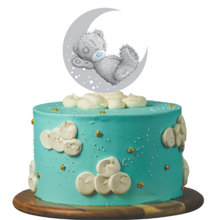 Load image into Gallery viewer, birthday cake, easy cake kits perth, baby shower cake, first birthday cake, baby reveal cake, blue cake, buttercream clouds, gold star sprinkles, teaddy bear on the moon cake topper, sponge cake