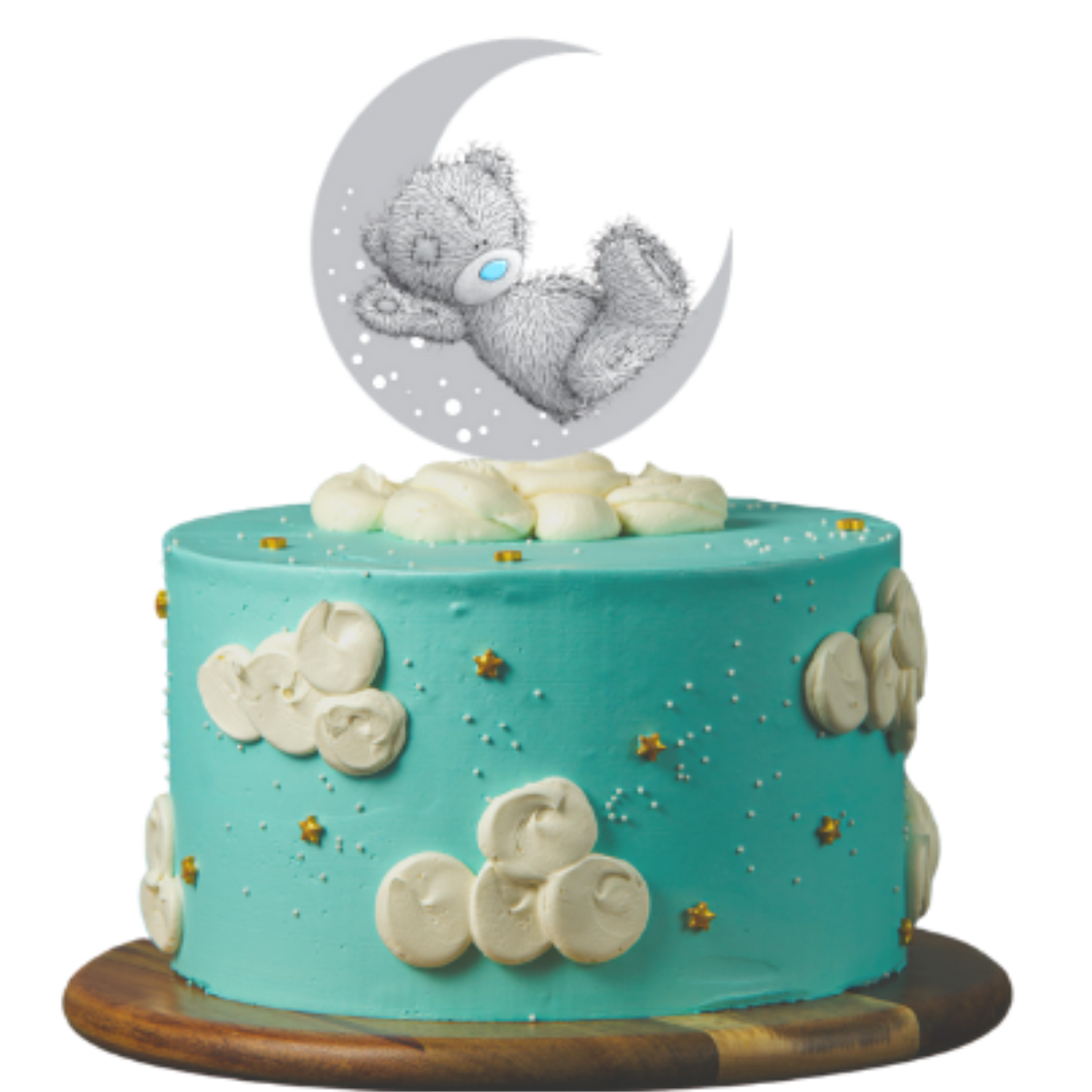 birthday cake, easy cake kits perth, baby shower cake, first birthday cake, baby reveal cake, blue cake, buttercream clouds, gold star sprinkles, teaddy bear on the moon cake topper, sponge cake