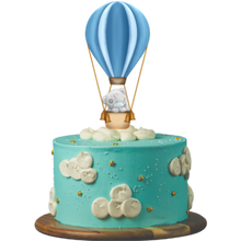 Load image into Gallery viewer, birthday cake, easy cake kits perth, baby shower cake, first birthday cake, baby reveal cake, blue cake, buttercream clouds, gold star sprinkles, teaddy bear in hot air-balloon cake topper, sponge cake