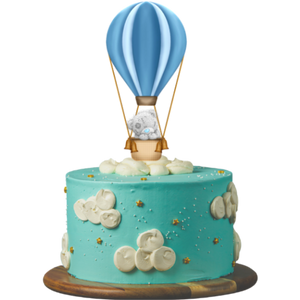 birthday cake, easy cake kits perth, baby shower cake, first birthday cake, baby reveal cake, blue cake, buttercream clouds, gold star sprinkles, teaddy bear in hot air-balloon cake topper, sponge cake