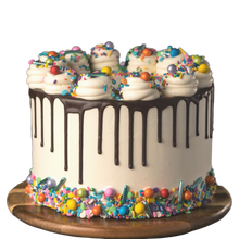 Load image into Gallery viewer, drip cake, easy cake kits Perth, Rainbow Sprinkle Mix, white vanilla buttercream cake, chocolate drip cake