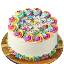 Load image into Gallery viewer, Birthday cake, easy cake kits Perth, Rainbow Sprinkle Mix, Rainbow Rosettes, Rainbow Buttercream, White buttercream cake