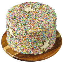 Load image into Gallery viewer, sprinkle covered cake, easy cake kits Perth, pastel Rainbow Sprinkle Mix, white vanilla buttercream, sponge cake