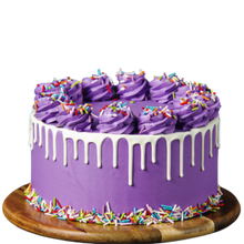 Load image into Gallery viewer, Birthday cake, easy cake kits Perth, Rainbow Sprinkle Mix, rainbow jimmies sprinkles, purple buttercream cake, white drip cake