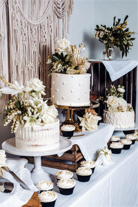 semi-naked cake, white vanilla buttercream, white drip, drip cake,  easy cake kits perth, boho wedding cake, rustic wedding cake, dessert table