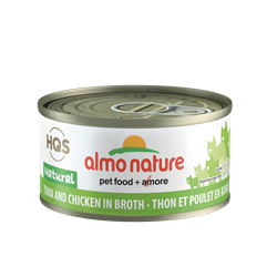 Almo Nature HQS Natural Tuna and Chicken in Broth - 70g can