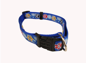 Hunter Adjustable Clip Collar Blue Paws