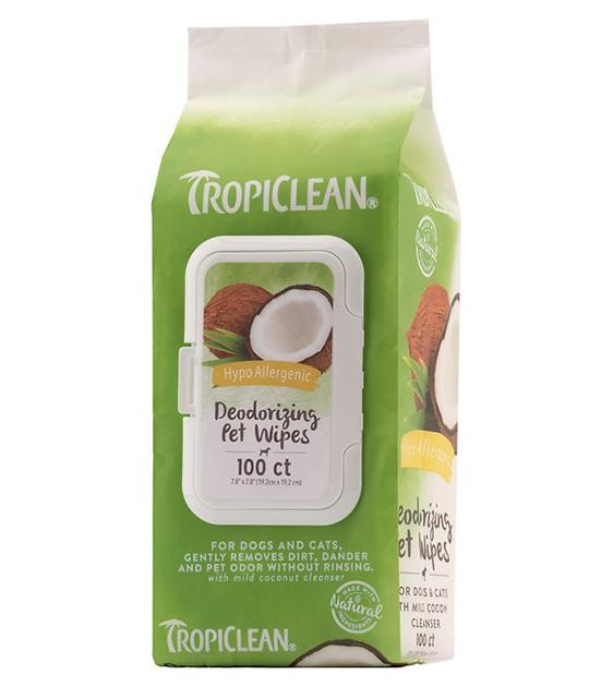 TropiClean Hypoallergenic Deodorizing Wipes for Dogs - 100 wipes