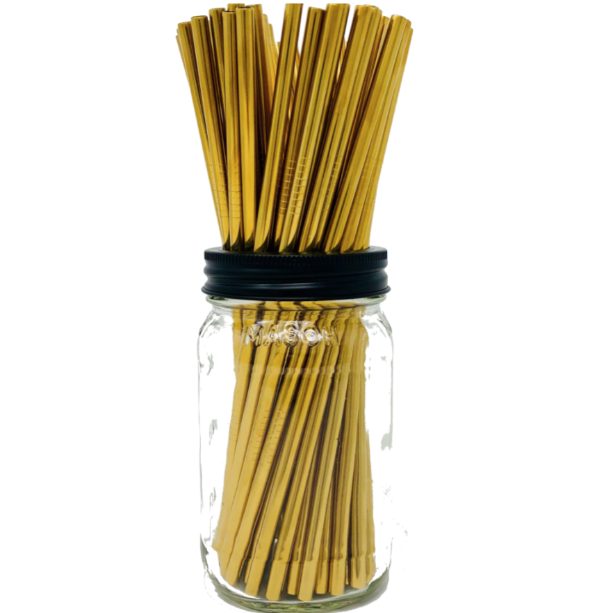 Set Of Four - Gold Stainless Steel Straws