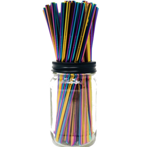 Set Of Four - Holographic Stainless Steel Straws