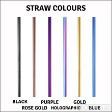 Load image into Gallery viewer, Two Smoothie Straws - Black Stainless Steel Straws