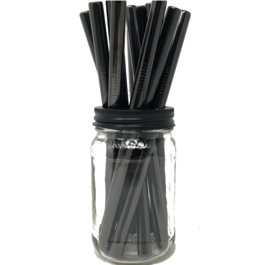 Two Smoothie Straws - Black Stainless Steel Straws