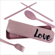 Load image into Gallery viewer, Wheat Straw Cutlery Kit - Love Version