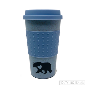 Wheat Straw Hot & Cold Reusable Cup - Bear Family Version Blue Bear Family