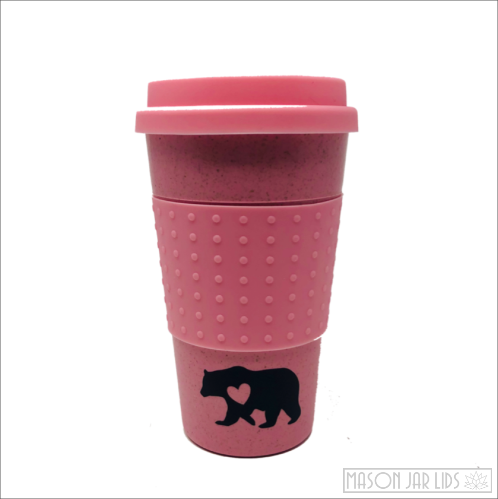 Wheat Straw Hot & Cold Reusable Cup - Bear Family Version Pink Bear Family