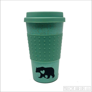 Wheat Straw Hot & Cold Reusable Cup - Bear Family Version Turquoise Bear Family