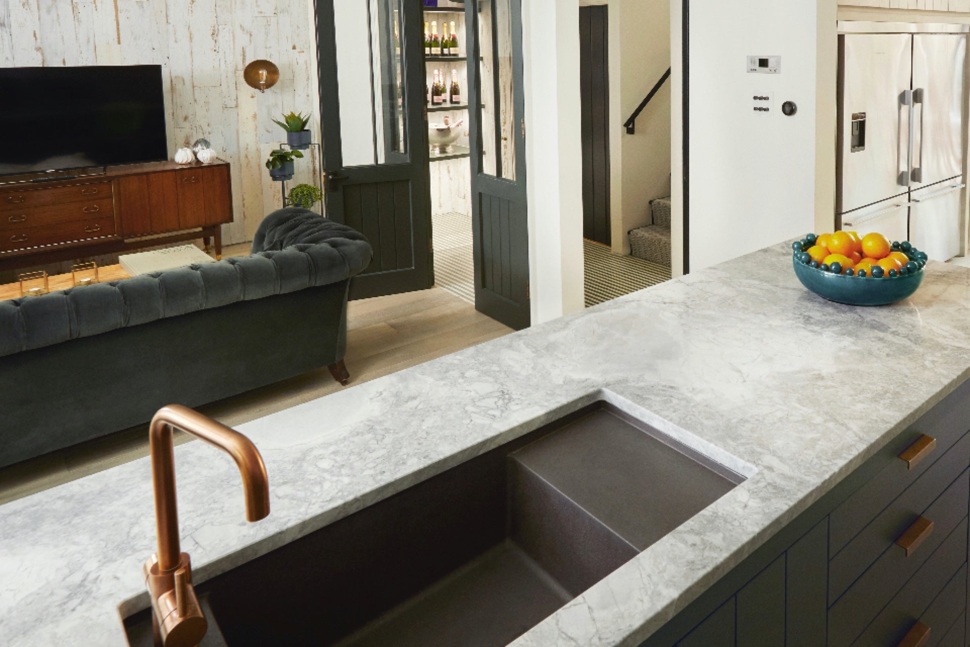 Kitchen and snug in the luxury London townhouse