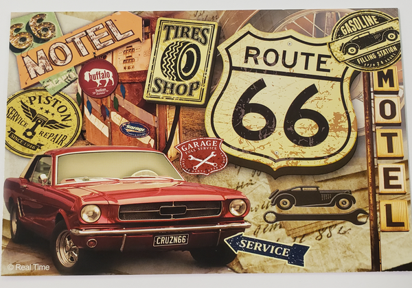 Vintage Route 66 Motel Tires Postcard