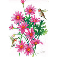 Pink Daisies & Hummingbirds House Flag 28 inch