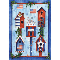 Red, White, Blue Birdhouses Garden Flag