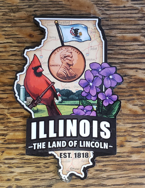 Illinois The Land of Lincoln Chunky Magnet