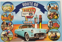 Postcard Route 66 Teal Car with Circle States