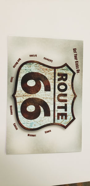 Postcard Get Your Kicks on Route 66 Rugged sign