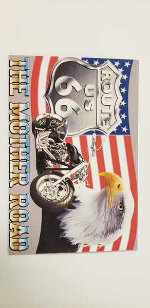 Route 66 Postcard with M/C & Eagle