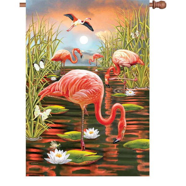 28 in. House Flag - Flamingo Sunset