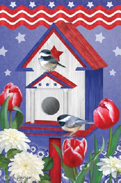 "Patriotic Birdhouse Summer Garden Flag Red White and Blue Yard Banner 12"" X 18"""
