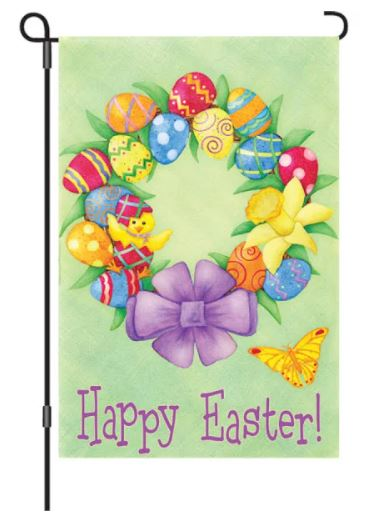 SMALL HAPPY EASTER WREATH FLAG
