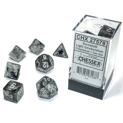 Chessex Polyhedral Dice Set: Borealis Luminary Light Smoke/Silver (7)