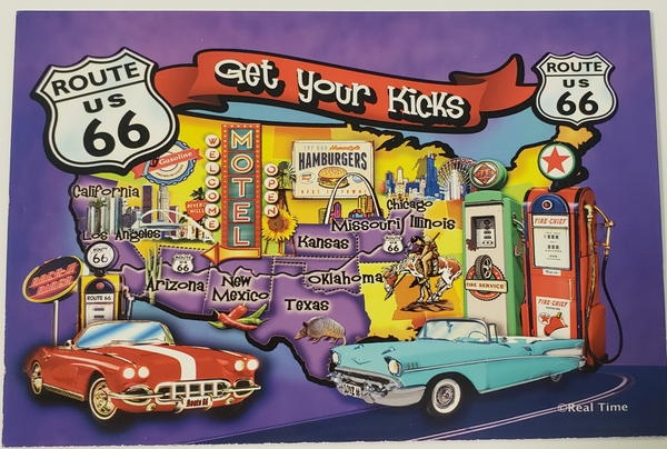 Postcard Route 66 Red & Teal Cars Us Map Get Your Kicks