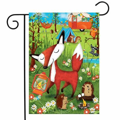 "Wilderness Camp Summer Garden Flag Fox Tents Camping 12.5"" x 18"""