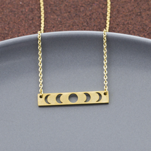 Load image into Gallery viewer, Message Necklace • I Love You To The Moon & Back • Hollow Moon Phases