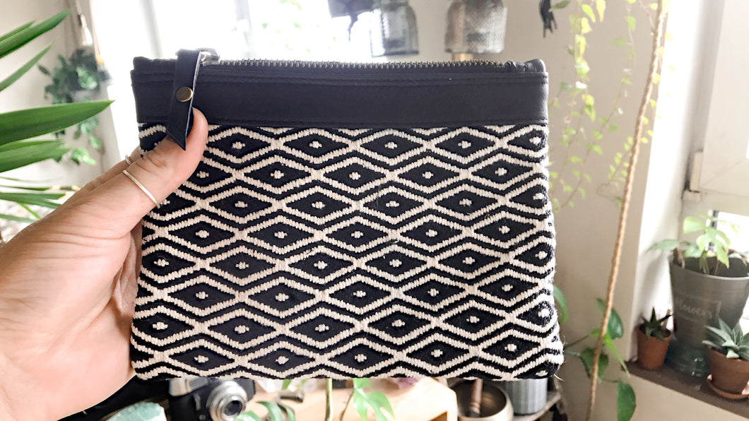 Leather Clutch Marina • Unique & Handmade • Pocket • Purse • White & Black