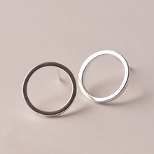 Load image into Gallery viewer, Stud Earrings • Sterling Silver • Hollow Circle