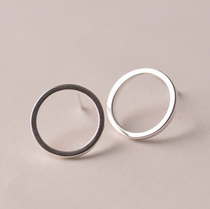 Stud Earrings • Sterling Silver • Hollow Circle