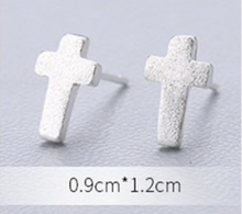 Load image into Gallery viewer, Stud Earrings • Sterling Silver • Cross