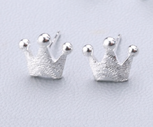Load image into Gallery viewer, Stud Earrings • Sterling Silver • Tiny Crown