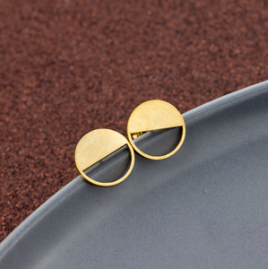 Stud Earrings • Minimal • Half Circle