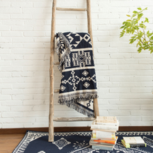 Load image into Gallery viewer, Throw Zyanya • Bed Cover • Sofa Blanket ▷ Aztec Blue