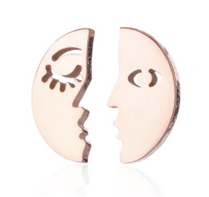 Stud Earrings • Minimal • Moon Face & Sun Face